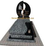елітний одинарний пам'ятник  з сірого граніту