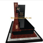 елітний одинарний пам'ятник  з червоного граніту