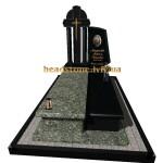 одинарний гранітний пам'ятник з квітником