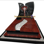 пам'ятник комбінований на могилу з червоного граніту