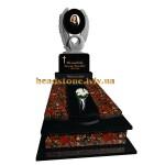 Гранітний пам'ятник на могилу з лебедем і серцем для мами
