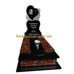 Гранітний пам'ятник на могилу з ангелом і квітами для дівчини