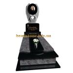 Гранітний пам'ятник на могилу з лебедем і серцем для жінки