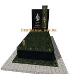 елітний одинарний пам'ятник  з зеленого граніту