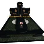 пам'ятник подвійний з зеленого і чорного граніту